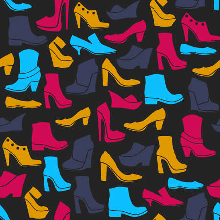 open toe: seamless pattern with multicolor icons of shoes