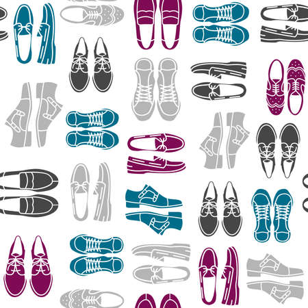 brogue: Seamless pattern with flat icons of mens shoes. Pattern for packaging and clearance Shoe store.