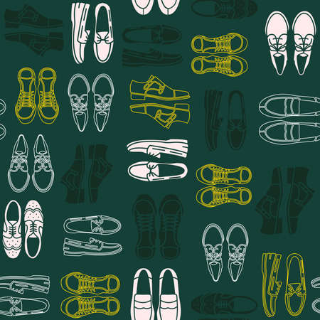 oxford: Seamless pattern with flat icons of mens shoes. Pattern for packaging and clearance Shoe store.