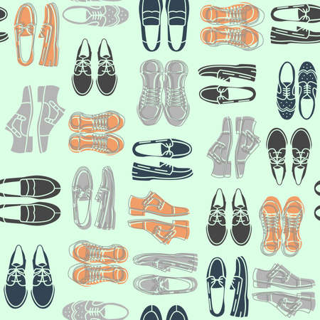 loafer: Seamless pattern with flat icons of mens shoes. Pattern for packaging and clearance Shoe store.