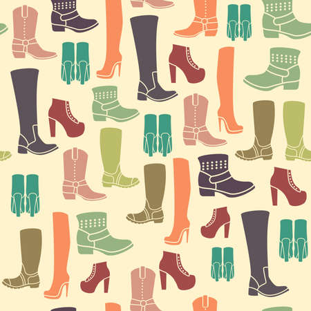 knee boots: Seamless pattern with flat icons of womens shoes. Pattern for packaging and clearance Shoe store.