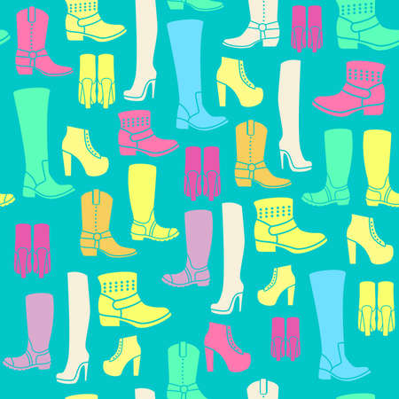 timberland: Seamless pattern with flat icons of womens shoes. Pattern for packaging and clearance Shoe store.