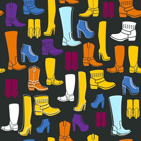 country store: Seamless pattern with flat icons of womens shoes. Pattern for packaging and clearance Shoe store.