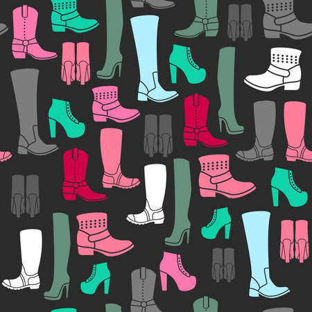 shoe store: Seamless pattern with flat icons of womens shoes. Pattern for packaging and clearance Shoe store.
