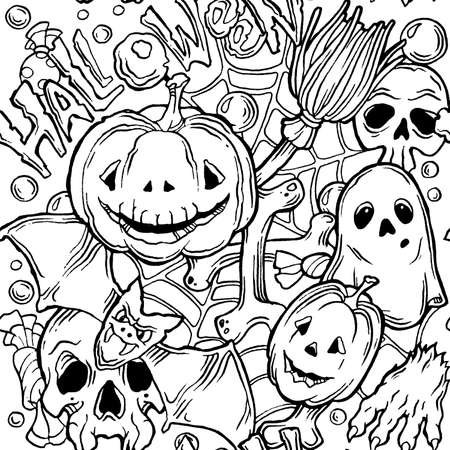samhain: Seamless halloween pattern with ghost, pumpkins, bat and broom. Black and white Illustration