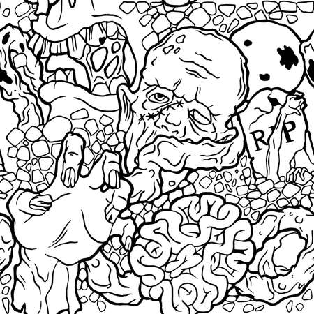 samhain: Color seamless halloween pattern with zombie stuff. Black and white