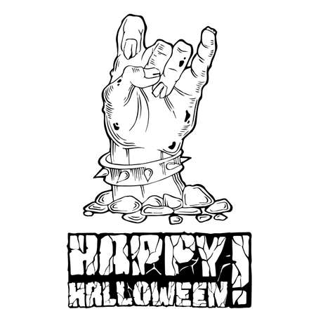 samhain: Card for Halloween with zombie hand and stone text. Black and white