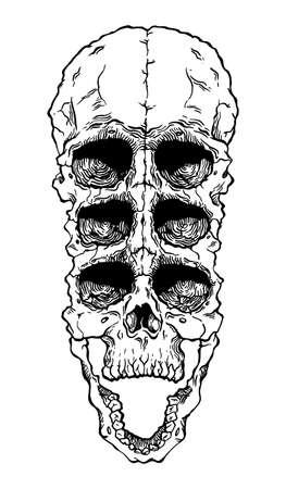 Terrible frightening skull. Creepy illlustration for halloween