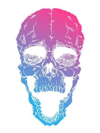 frightening: Terrible frightening skull. Creepy illlustration for halloween