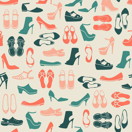 straps: seamless pattern with multicolor different kinds of shoes Illustration