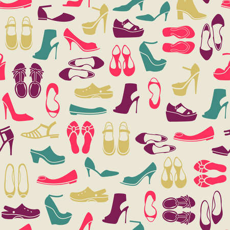 bondage: seamless pattern with multicolor different kinds of shoes Illustration