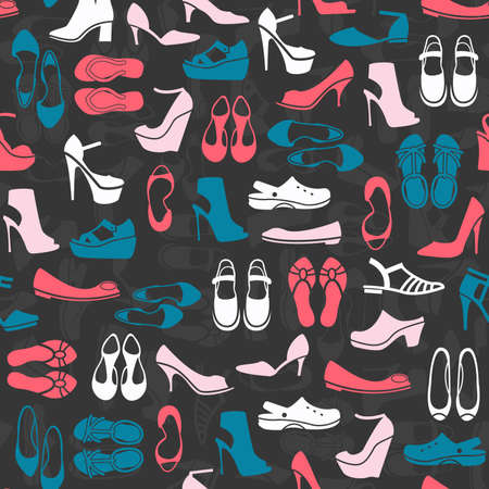 open toe: seamless pattern with multicolor different kinds of shoes Illustration