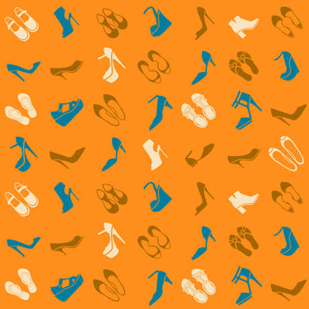 seamless pattern with multicolor different kinds of shoes Illustration
