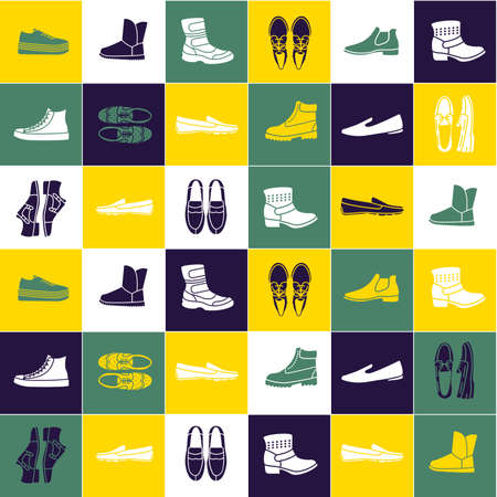 shoe store: Seamless pattern with flat icons of mens shoes. Pattern for packaging and clearance Shoe store.