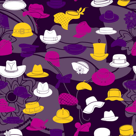 hat with visor: Seamless pattern with flat icons of headwear. Pattern for packaging and clearance headwear store. Illustration