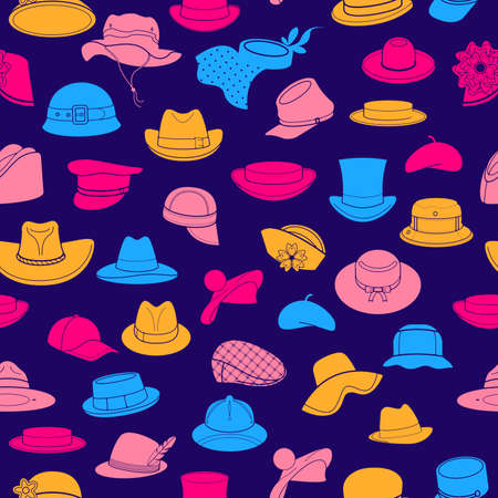 akubra: Seamless pattern with flat icons of headwear. Pattern for packaging and clearance headwear store. Illustration