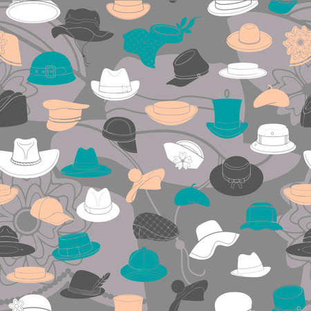 headwear: Seamless pattern with flat icons of headwear. Pattern for packaging and clearance headwear store. Illustration