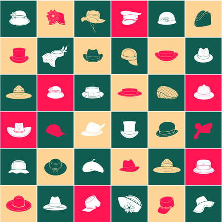 beanie: Seamless pattern with flat icons of headwear. Pattern for packaging and clearance headwear store. Illustration