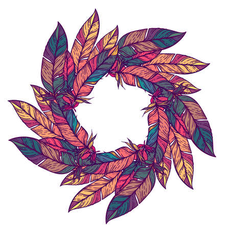 paganism: Color circular pattern. Round kaleidoscope of feathers and floral elements. Boho style Illustration