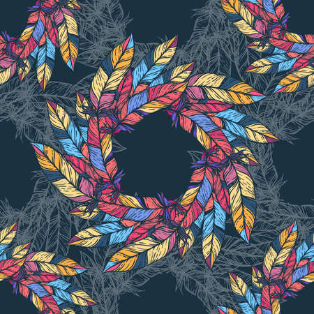 paganism: Seamless pattern in boho style. Round kaleidoscope of feathers and floral elements