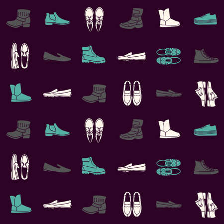 loafer: Seamless pattern with flat icons of mens shoes Illustration