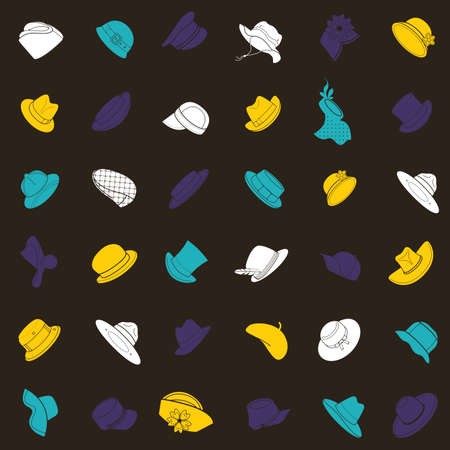 breton: Seamless pattern with flat icons of headwear. Pattern for packaging and clearance headwear store. Illustration