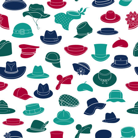 Seamless pattern with flat icons of headwear. Pattern for packaging and clearance headwear store. Illustration