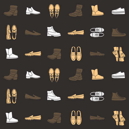 brogue: Seamless pattern with flat icons of mens shoes Illustration