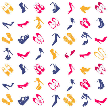 brogues: seamless pattern with multicolor different kinds of shoes Illustration