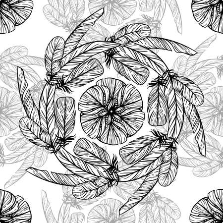paganism: Monochrome circular pattern. Round kaleidoscope of feathers and floral elements.
