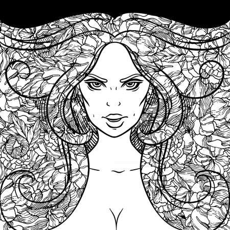 Portrait d'une jeune fille avec des boucles magnifiques sur le fond de pivoines