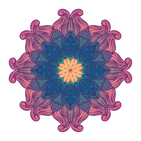 circle pattern with floral ornament. Round kaleidoscope Illustration