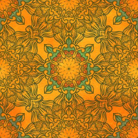 Nahtlose dekoratives Muster. Ornament mit Mosaikelementen. Vintage floral Styling zu entwerfen Karten, Corporate Identity, Textilien. Kaleidoskop. Grafik.