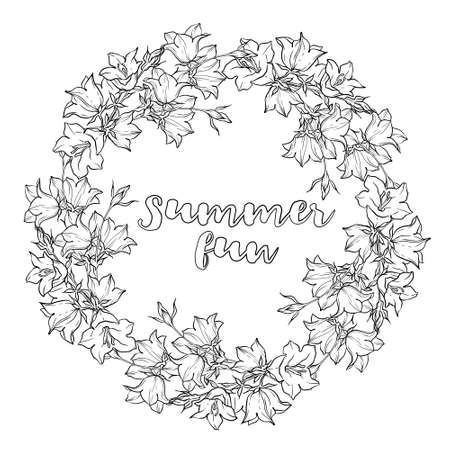 bellflower: Circle pattern with bellflowers. Round kaleidoscope of flowers and floral elements. Wreath. Design card. Watercolor background