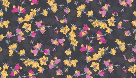 bellflower: Seamless pattern with bellflowers. Floral ornament. Background