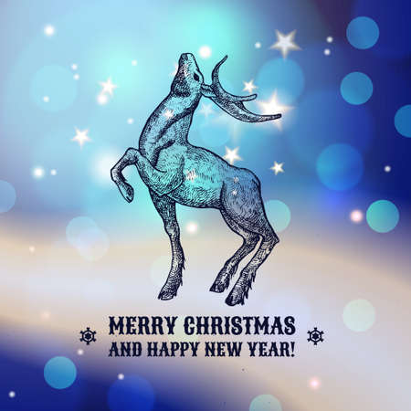 Christmas illustration with reindeer. The design of the cards. New Year. Congratulations and best wishes. Hand-drawn