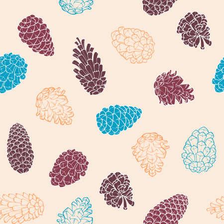 Hand-Drawn pattern avec des cônes de pin d'arbre à feuilles persistantes de conifères. Conception décor de fond. Carte. Illustration