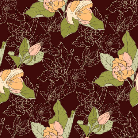 Seamless pattern with apple blossom. Round kaleidoscope of flowers and floral elements. Wreath. Design card. Illustration