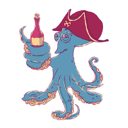 Cunning octopus-pirate with a bottle of alcohol in the tentacles. Drunk.
