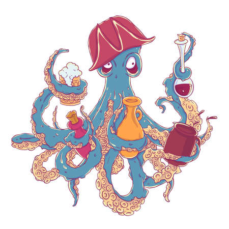 cocked hat: Drunk octopus-pirate with a drink in the tentacles. Drunkard in a cocked hat askew.