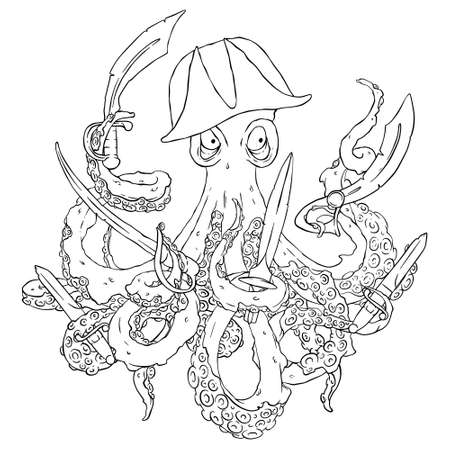 devilfish: Angry pirate-octopus with arms. Sword, dagger, blade. Aggressive Illustration