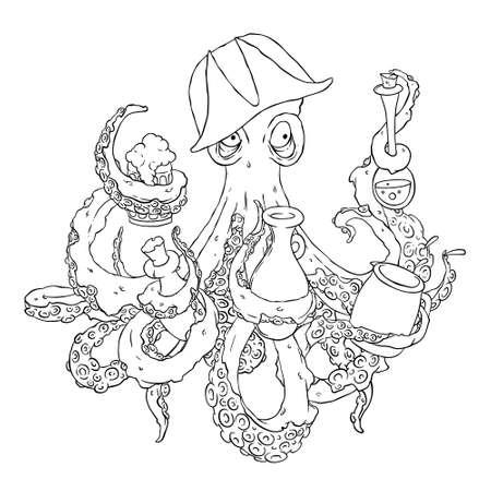Drunk pieuvre pirate avec un verre dans les tentacules. Ivrogne dans un chapeau de guingois armé.