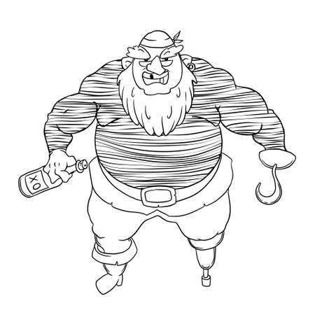 jackboot: One-legged, bearded pirate in bandana. A man in vest Illustration
