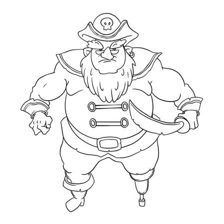 jackboot: One-legged, bearded pirate in a cocked hat with skull. Man in coat