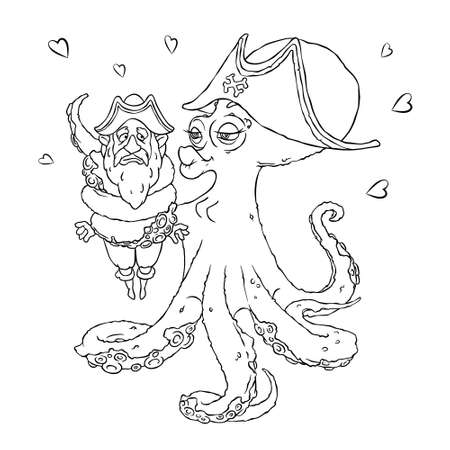 14: Postcard for Valentines day. 14 Feb. Be my Valentine. Love the octopus hugs confused pirate.