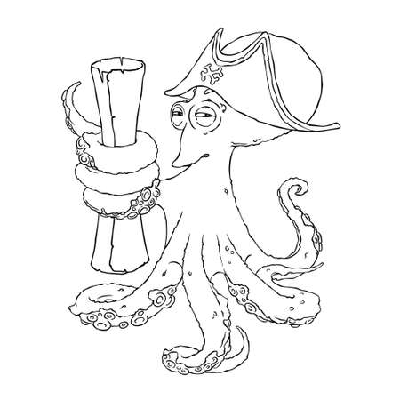 cocked hat: Cunning octopus-pirate in a cocked hat with paper scrolls. Treasure map.