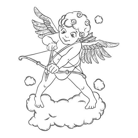 black baby boy: Valentines day. Cupid with a bow and arrow takes aim. Vector illustration isolated on white background. Illustration
