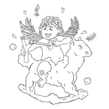 slingshot: Valentines day. Funny Cupid on a cloud horse shoots with a slingshot.