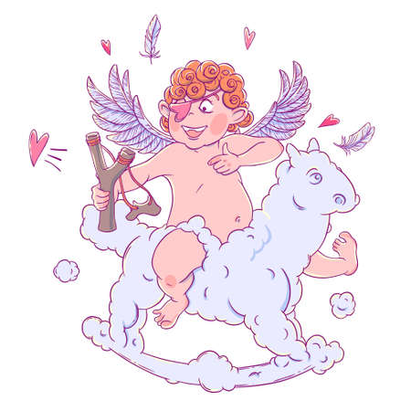 prankster: Valentines day. Funny Cupid with patch on the knee on a cloud horse shoots with a slingshot. Illustration