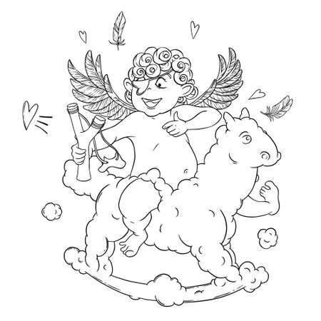 varmint: Valentines day. Funny Cupid with patch on the knee on a cloud horse shoots with a slingshot. Illustration
